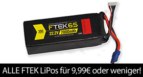 FTEK Blowout Sale All FTEK LiPos 9,99 Euro or Less