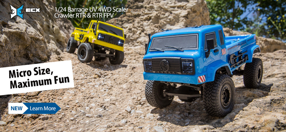 NEW! ECX 1/24 Barrage UV 4WD Scaler Crawler RTR & RTR FPV!