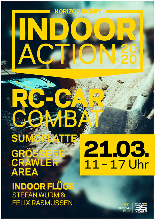 Horizon Hobby - On March 21st, 2020 it is INDOOR ACTION again! Hanskampring 9 22885 Barsbuttel (BEI Horizon Hobby) - See event details on Facebook.