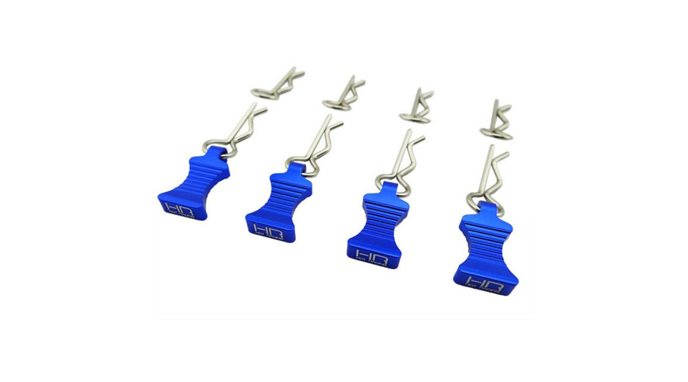 Image for 1/10 Blue Aluminum EZ Pulls (4) Body Clips (8) from HorizonHobby