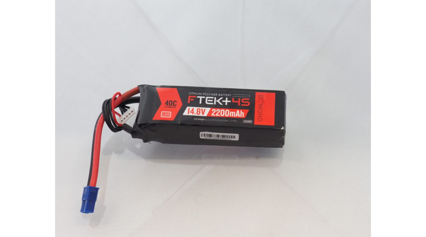 Image for F-TEK+ 4S 2200mAh 40C LiPo w LED Indicator (EC3) from Horizon Hobby