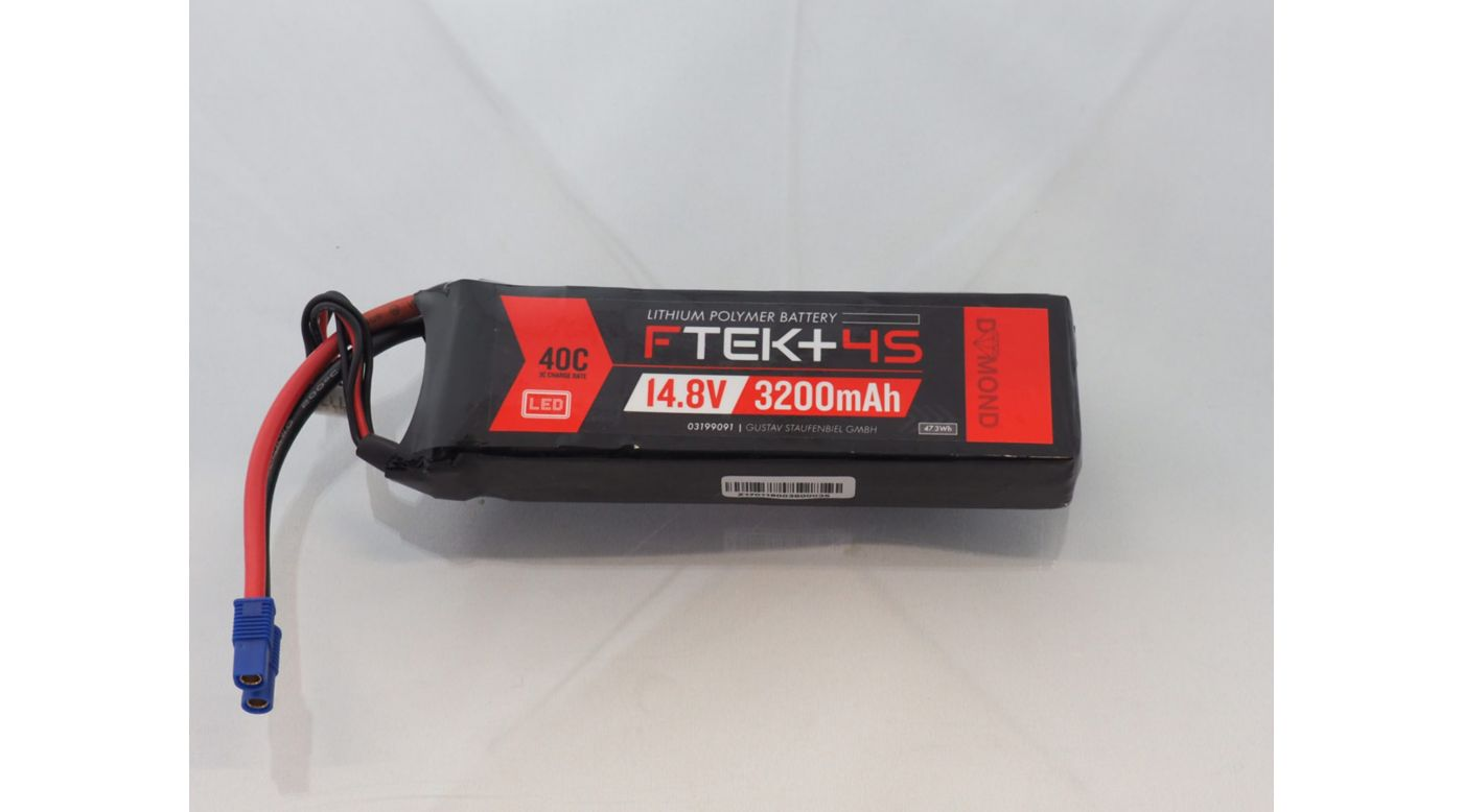 Image for F-TEK+ 4S 3200mAh 40C LiPo w LED Indicator (EC3) from Horizon Hobby