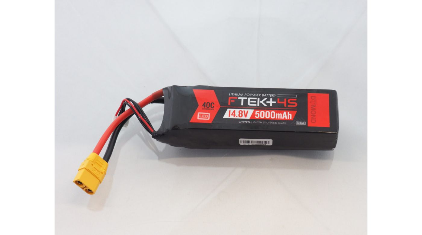 Image for F-TEK+ 4S 5000mAh 40C LiPo w LED Indicator (XT90) from Horizon Hobby