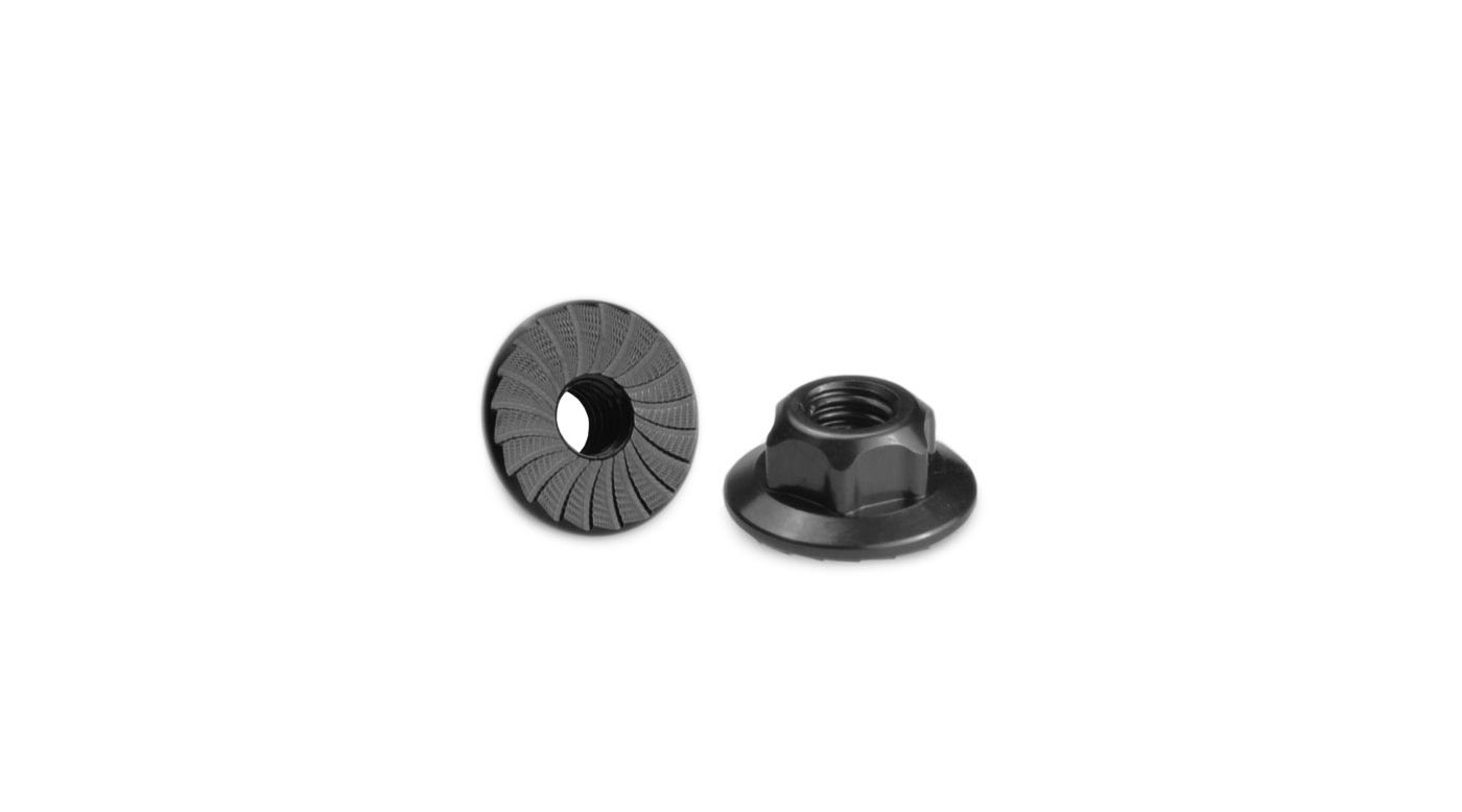 Image for 4mm Large Flange Serrated Locknut, Black: B5, TLR from HorizonHobby