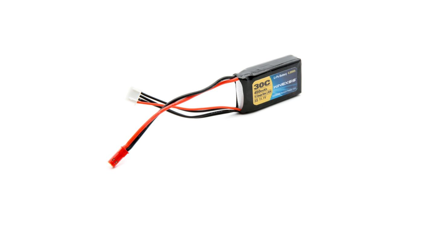 Image for 11.1V 450mAh 30C 3S LiPo Battery, 18AWG: JST from HorizonHobby
