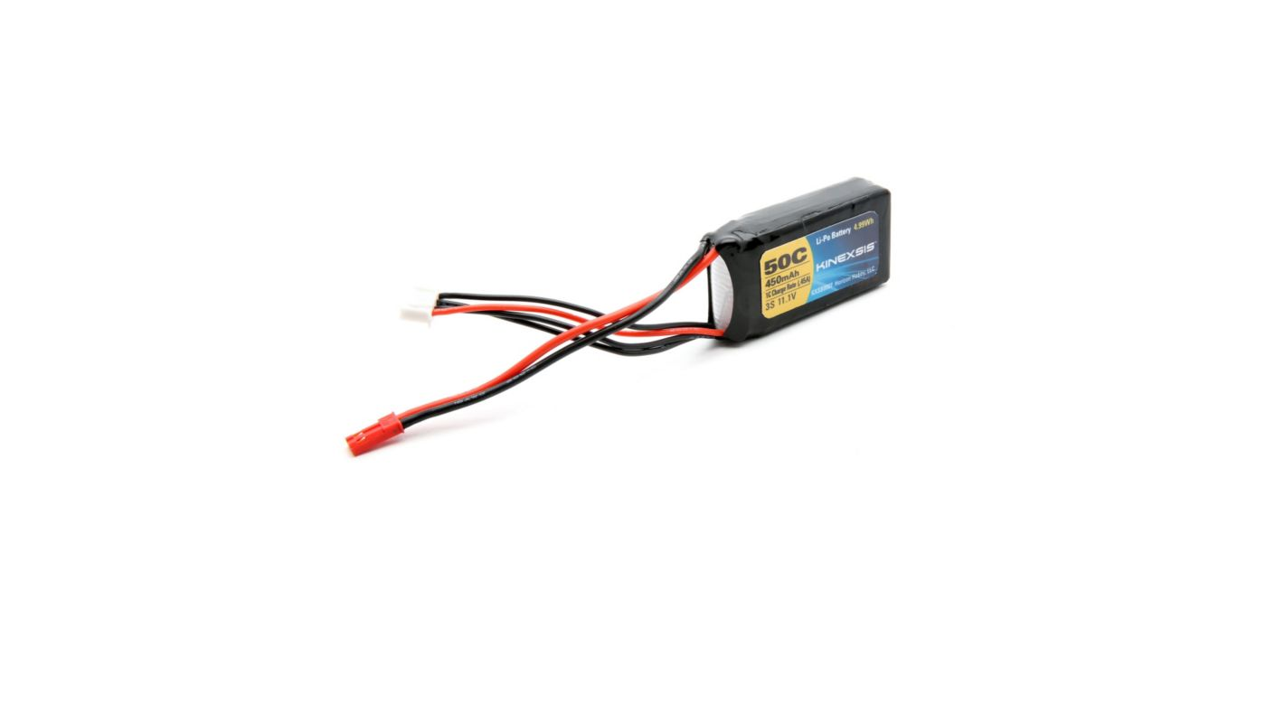 Image for 11.1V 450mAh 50C 3S LiPo Battery, 18AWG: JST from HorizonHobby