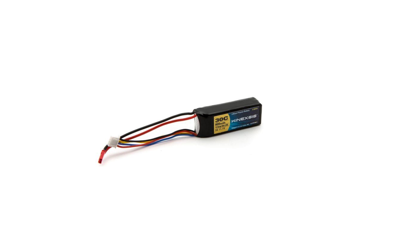 Image for 11.1V 800mAh 30C 3S LiPo Battery, 18AWG: JST from HorizonHobby