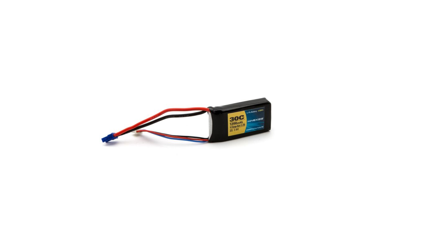 Image for 7.4V 1200mAh 30C 2S LiPo Battery, 18AWG: EC2 from HorizonHobby