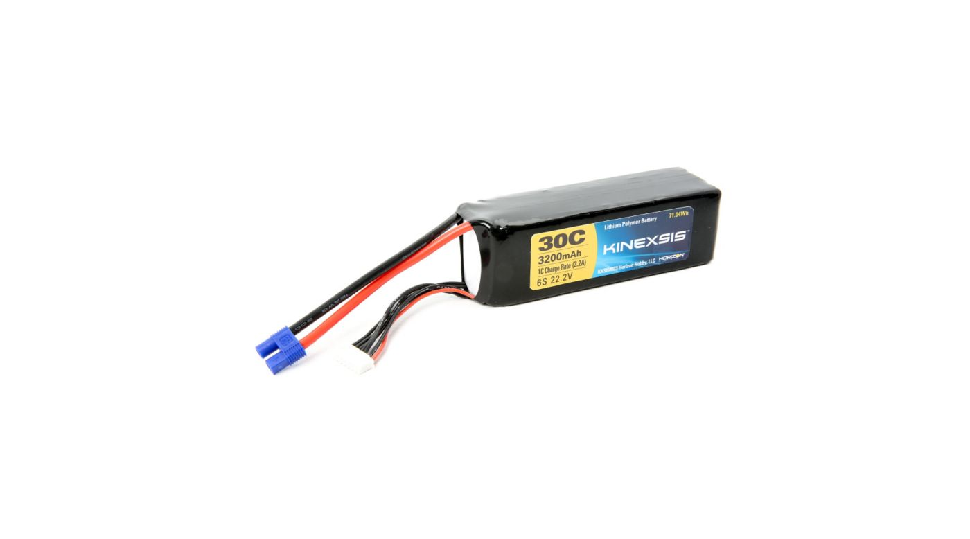 Image for 22.2V 3200mAh 30C 6S LiPo Battery, 12AWG: EC3 from HorizonHobby