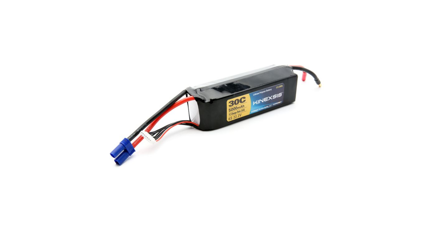 Image for 22.2V 5000mAh 30C 6S LiPo Battery, 10AWG: EC5 from HorizonHobby