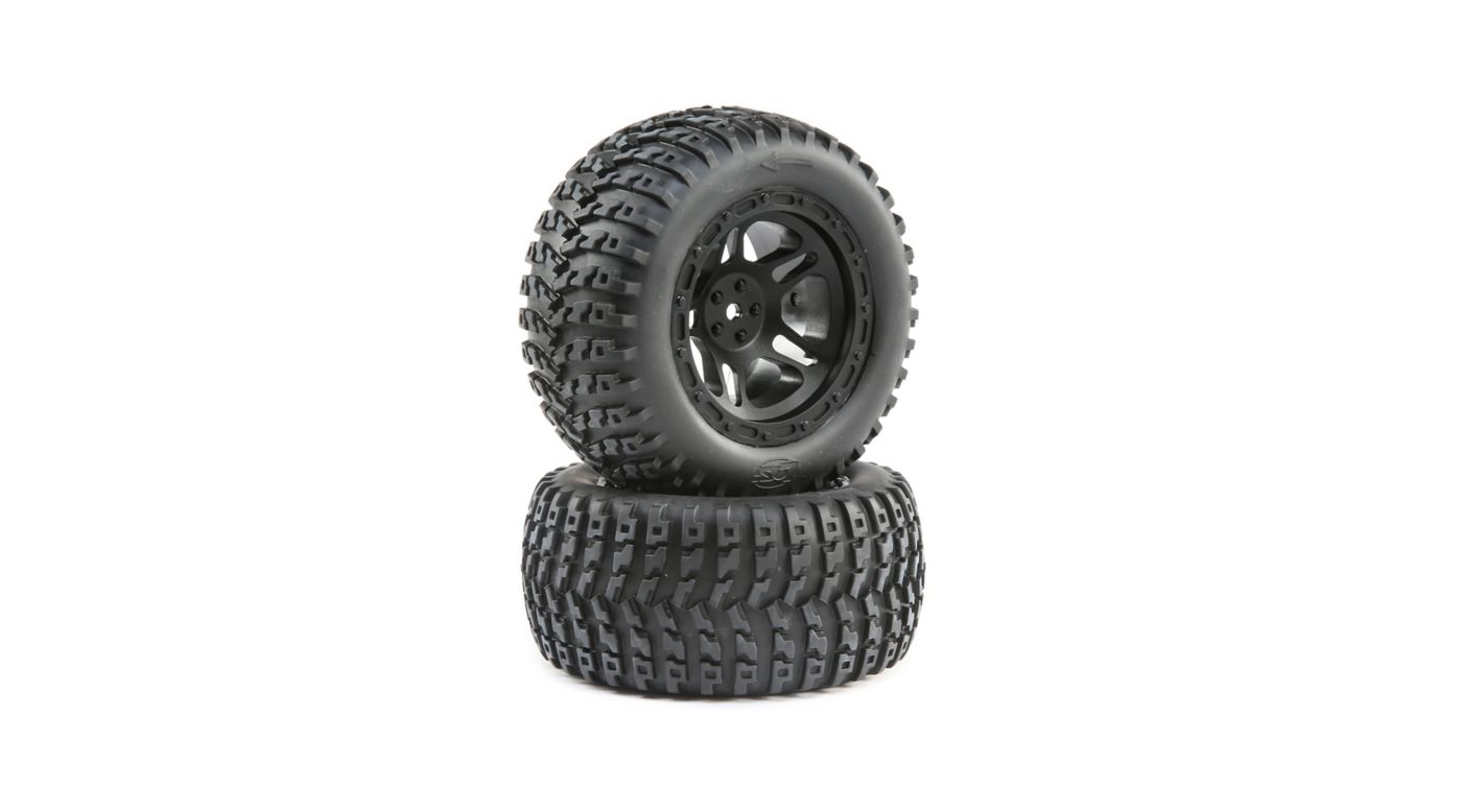 Image for Wheel and Mounted Tire, Black (2): 22S ST from HorizonHobby