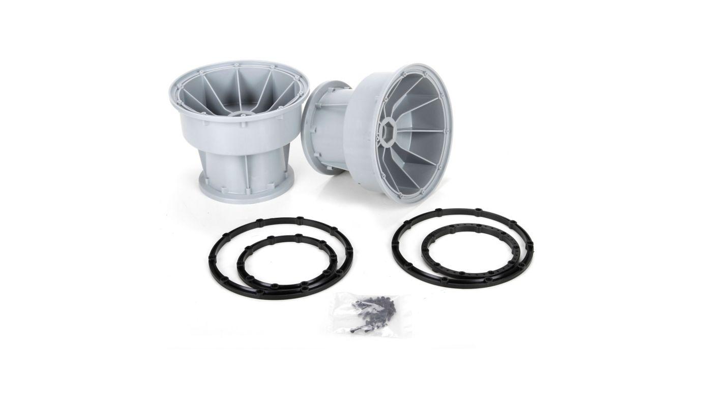 Image for Silver Wheel & Black Bead Lock Rings (2)  MTXL from HorizonHobby