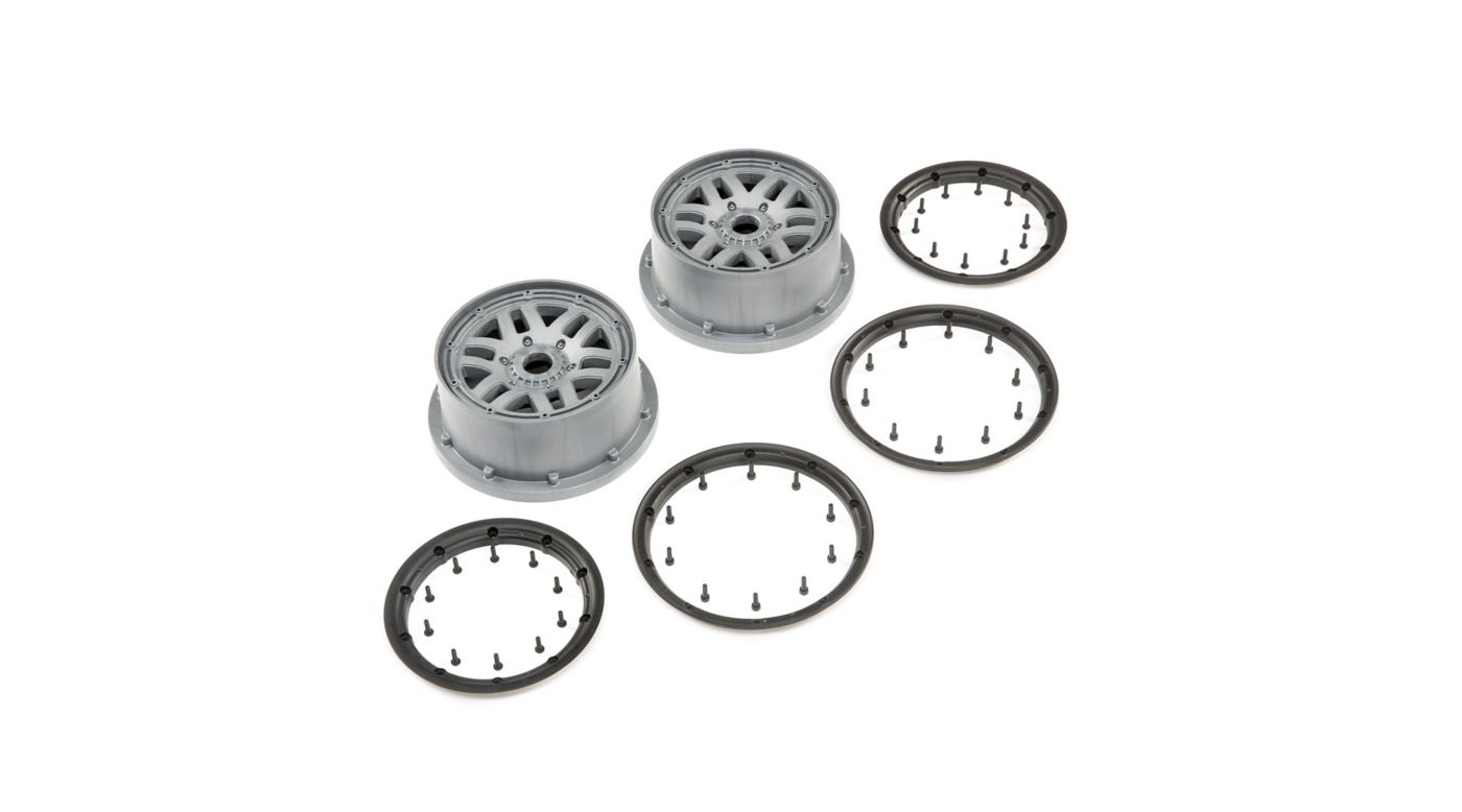 Image for 1/5 Front/Rear 4.75 Wheel and Beadlock Set, 24mm Hex, Grey (2): 5ive-T 2.0 from HorizonHobby