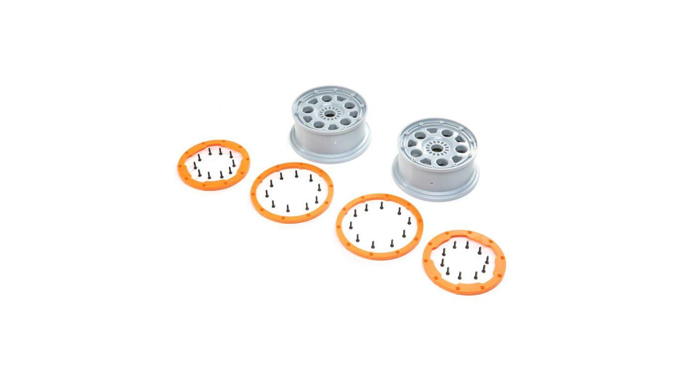 Image for 1/5 Front/Rear 4.75 Beadlock Wheels, 24mm Hex, Silver/Orange (2): DBXL-E 2.0 from Horizon Hobby
