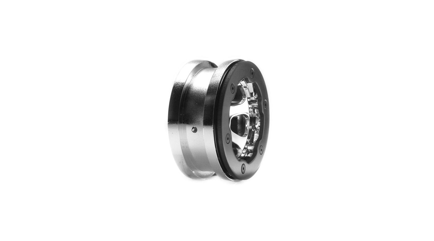 Image for 1/10 Front/Rear 2.2 Beadlock Wheels with Rings, 12mm Hex, Chrome: Crawler from HorizonHobby
