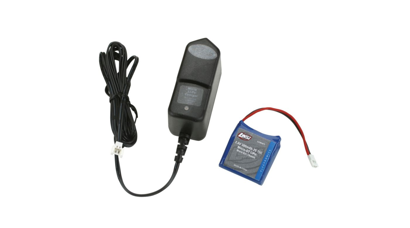 Image for 7.4V 300mAh 2S 15C LiPo/Charger Combo: Micro-DT from HorizonHobby