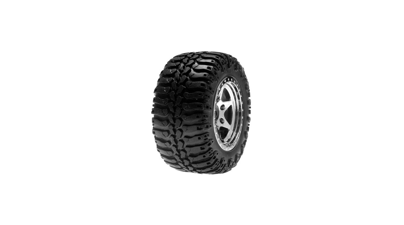 Image for Rear Wheels & Tires Mounted, Chrome (Pr): Mini-DT from HorizonHobby