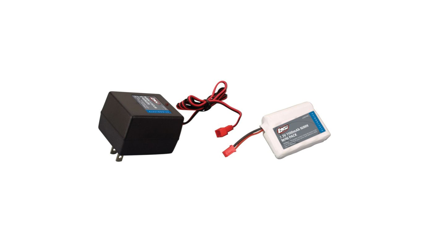 Image for Battery w/Charger 1100mAh 7.2V NiMH:Mini-T, MLST/2 from HorizonHobby
