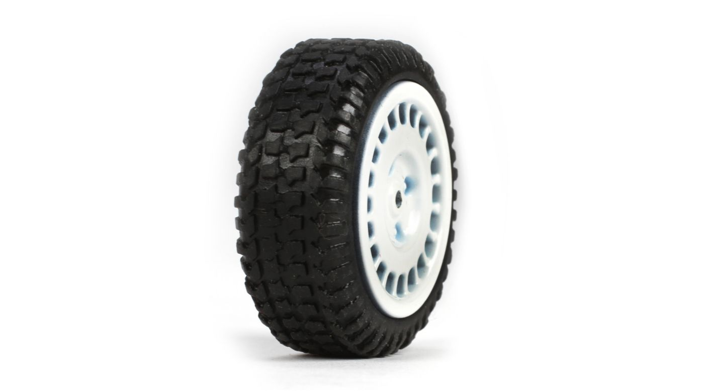 Image for Tires, Mounted, White (4): Micro Rally from HorizonHobby