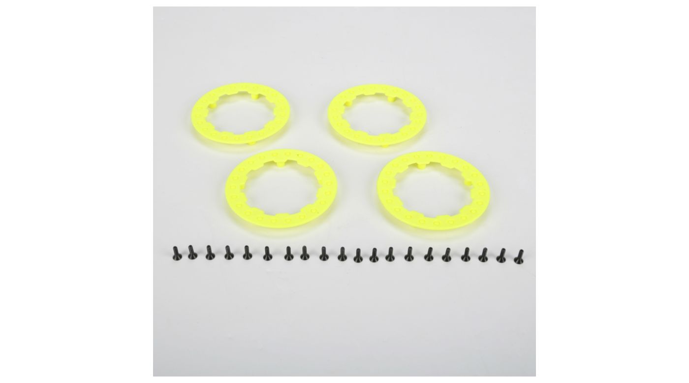 Image for Beadlock Rings w/Screws, Fluor Yellow: SCT/SCB/SCTE(4) from HorizonHobby