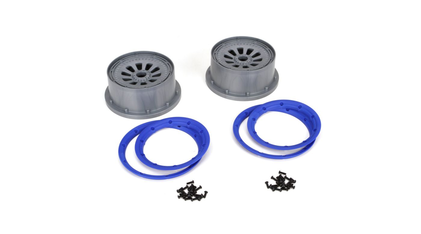 Image for 1/5 Wheel and Beadlock Set 4.75, 24mm Hex, Blue (2): 5IVE-T from HorizonHobby