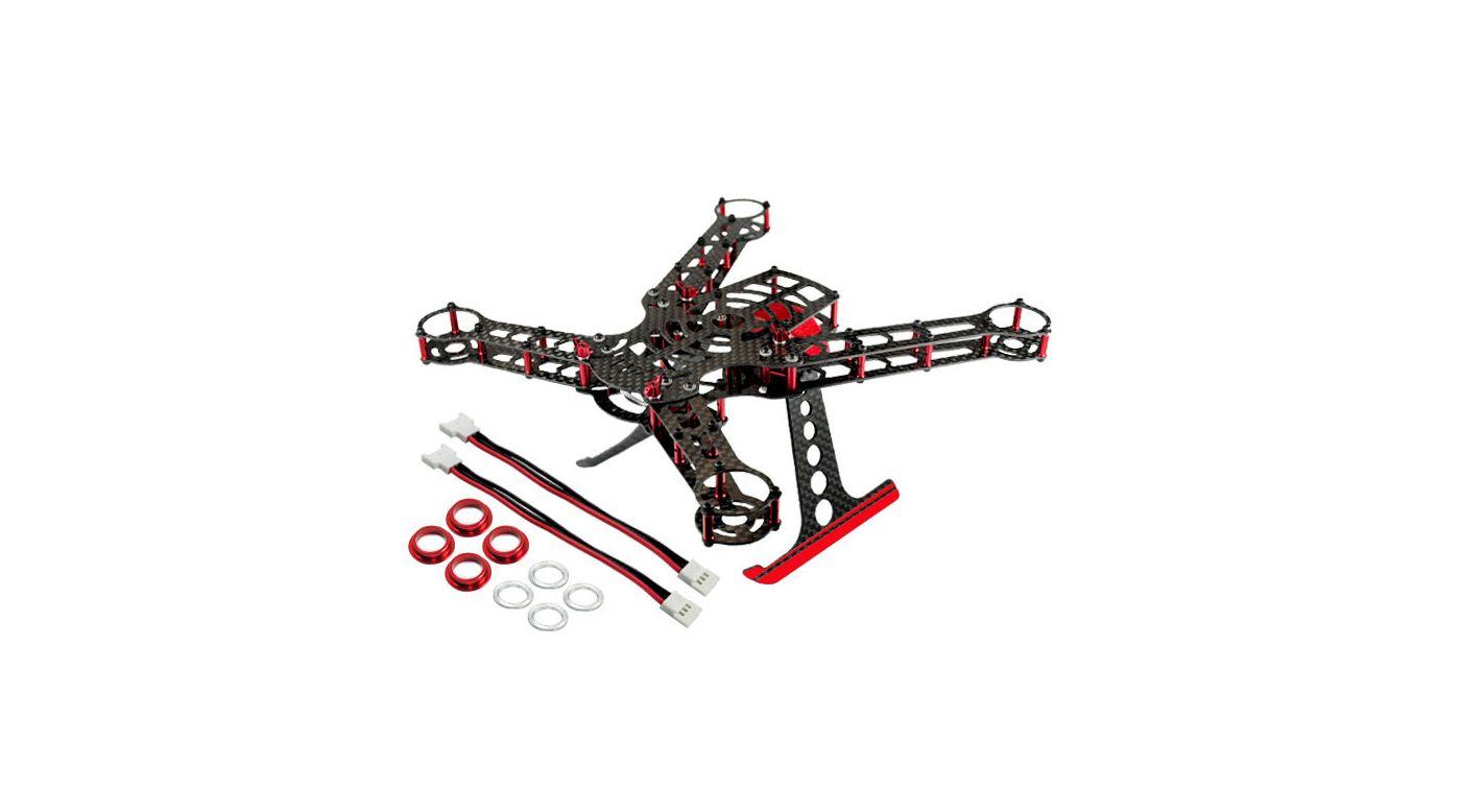 200 QX Frame Kit, Aluminum/Carbon Fiber: Red   HorizonHobby