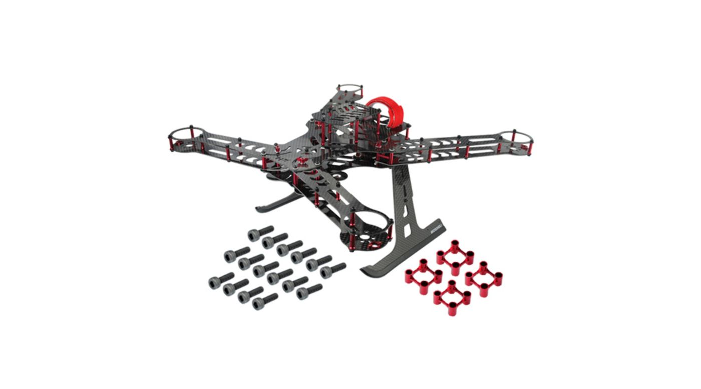 Image for CNC Aluminum/Carbon Fiber Quad Frame Kit, Red: 350 QX from HorizonHobby