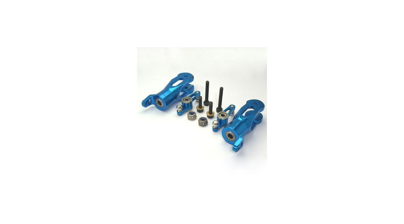 Image for CNC Blade Grips w/ Mixing Arms, Blue: BCPP, BSR from HorizonHobby
