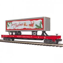 MTH 20-95398 O Flat Car w/40' Trailer Christmas #121925