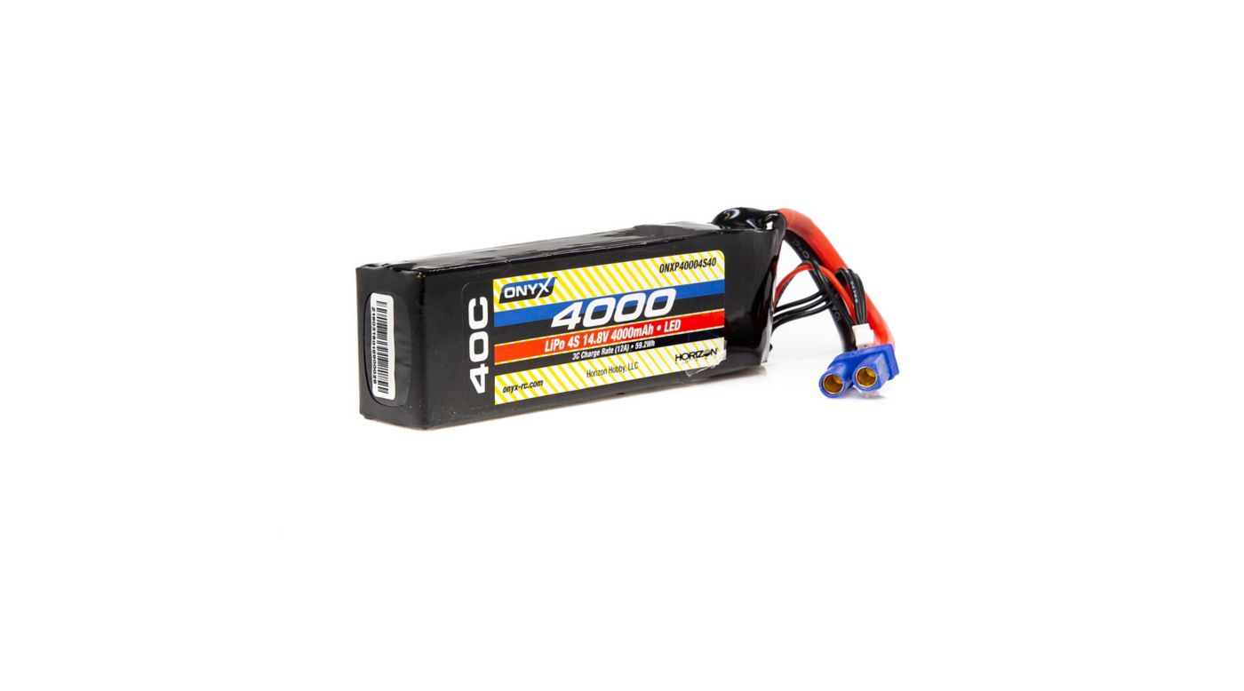 Image for 14.8V 4000mAh 4S 40C LiPo Battery, EC5 with LED from HorizonHobby