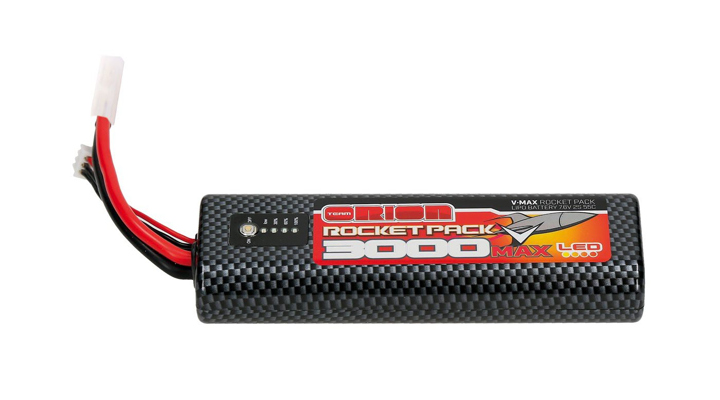 Image for Rocket V-Max 7.6V 3000mAh 55C 2S LiPo, Round, LED, TAM from HorizonHobby