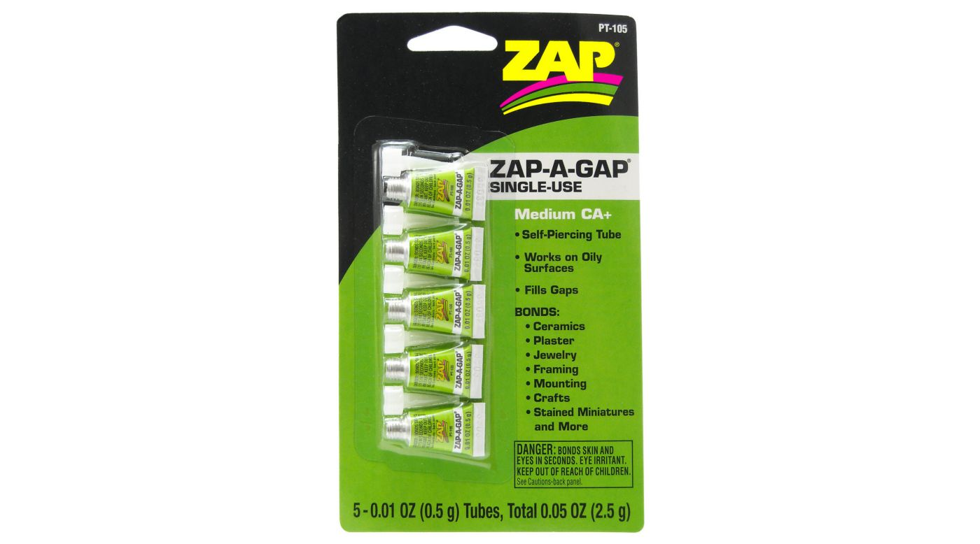 Image for Zap-A-Gap Medium CA+ Single Use Tubes, 5 x 1/2 gram, Carded from HorizonHobby