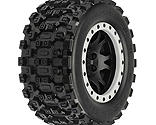 Pro-line Racing - Badlands MX43 Pro-Loc Mounted, Impulse Black Wheels with Grey Rings (2): X-Maxx