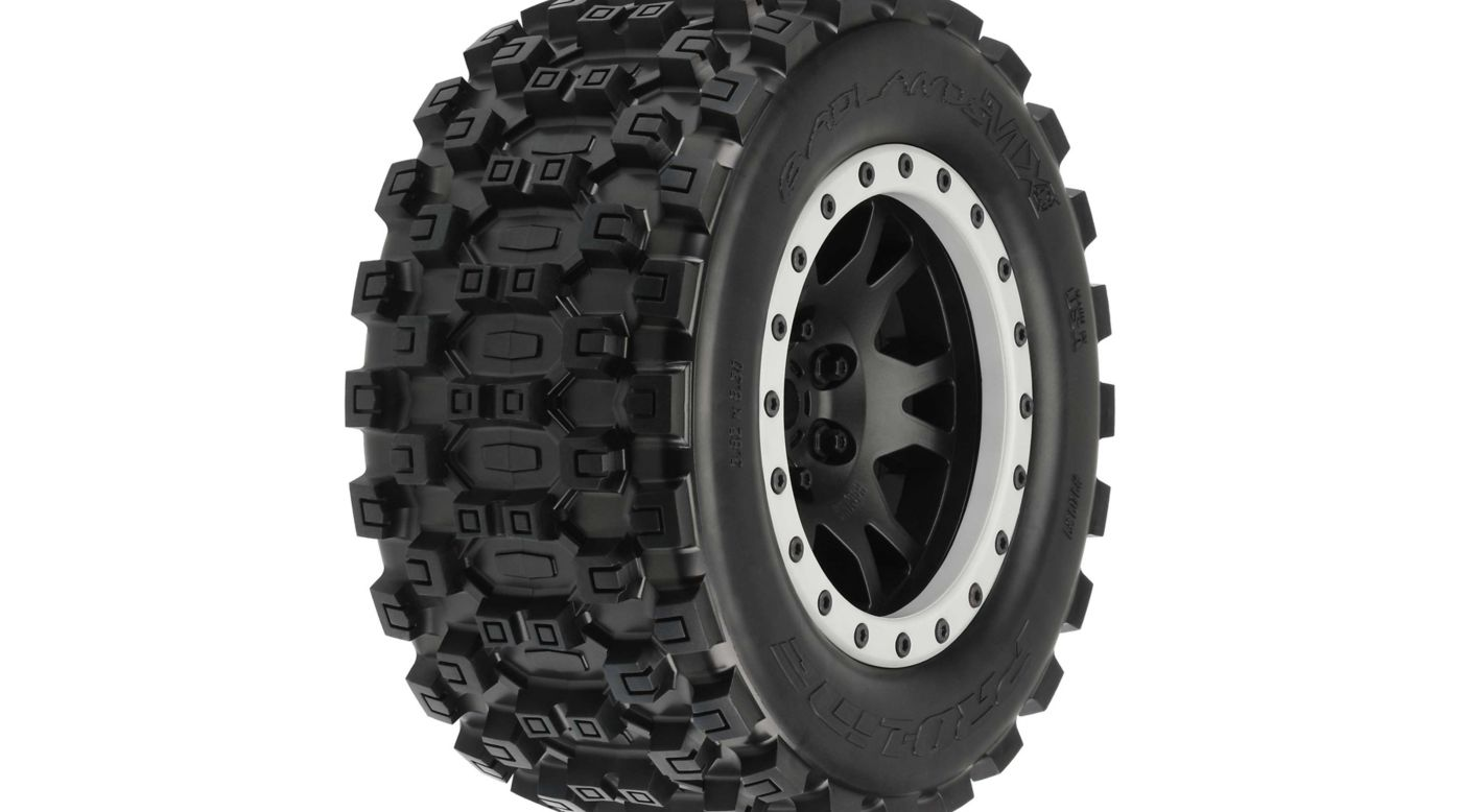 Image for Badlands MX43 Pro-Loc Mounted, Impulse Black Wheels with Grey Rings (2): X-Maxx from HorizonHobby