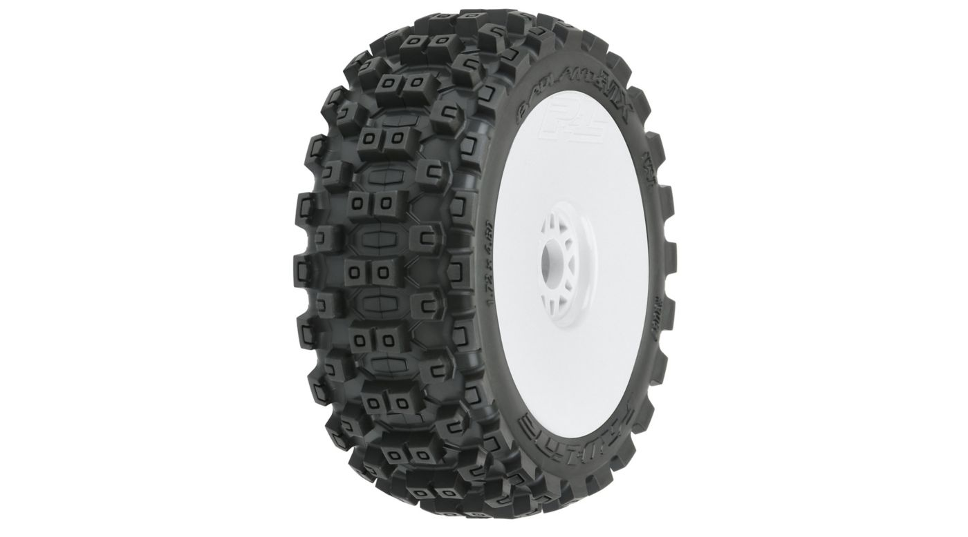 Image for Badlands MX M2 Mounted White Wheels, F/R (2): 1/8 Buggy from HorizonHobby