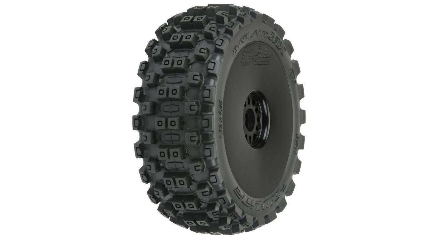 Image for Badlands MX M2 Mounted Black Wheels, F/R (2): 1/8 Buggy from HorizonHobby