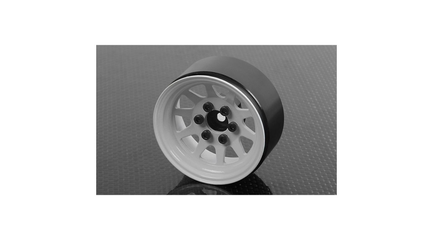 Image for OEM Stamped Steel 1.9 Beadlock Wheel, White (4) from HorizonHobby