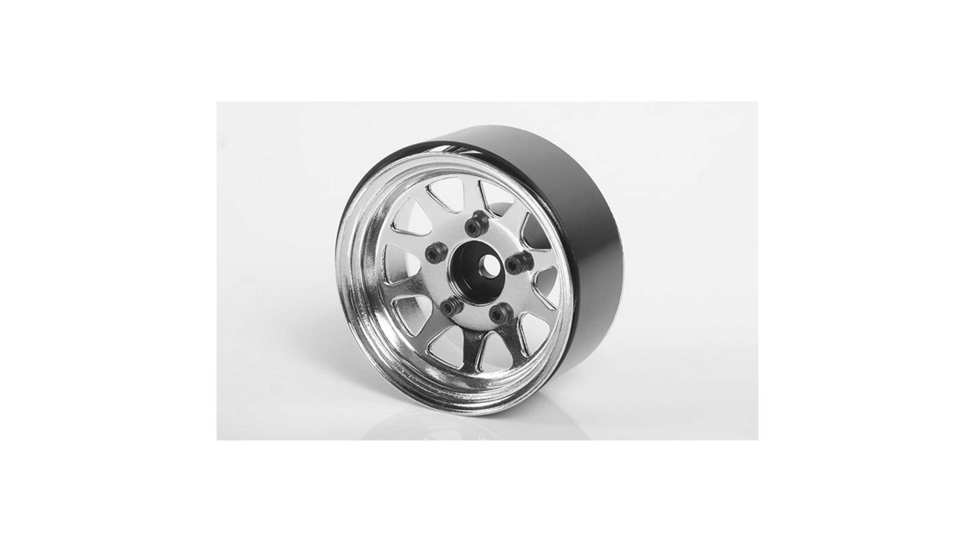 Image for OEM Stamped Steel 1.55 Beadlock Wheels Chrome (4) from HorizonHobby