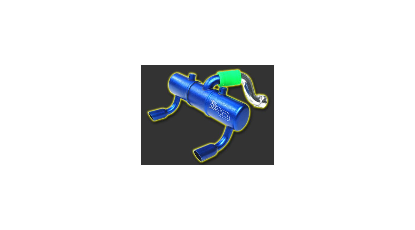 Image for Twin Exhaust Pipe, Blue: Tmaxx 2.5/3.3 from HorizonHobby