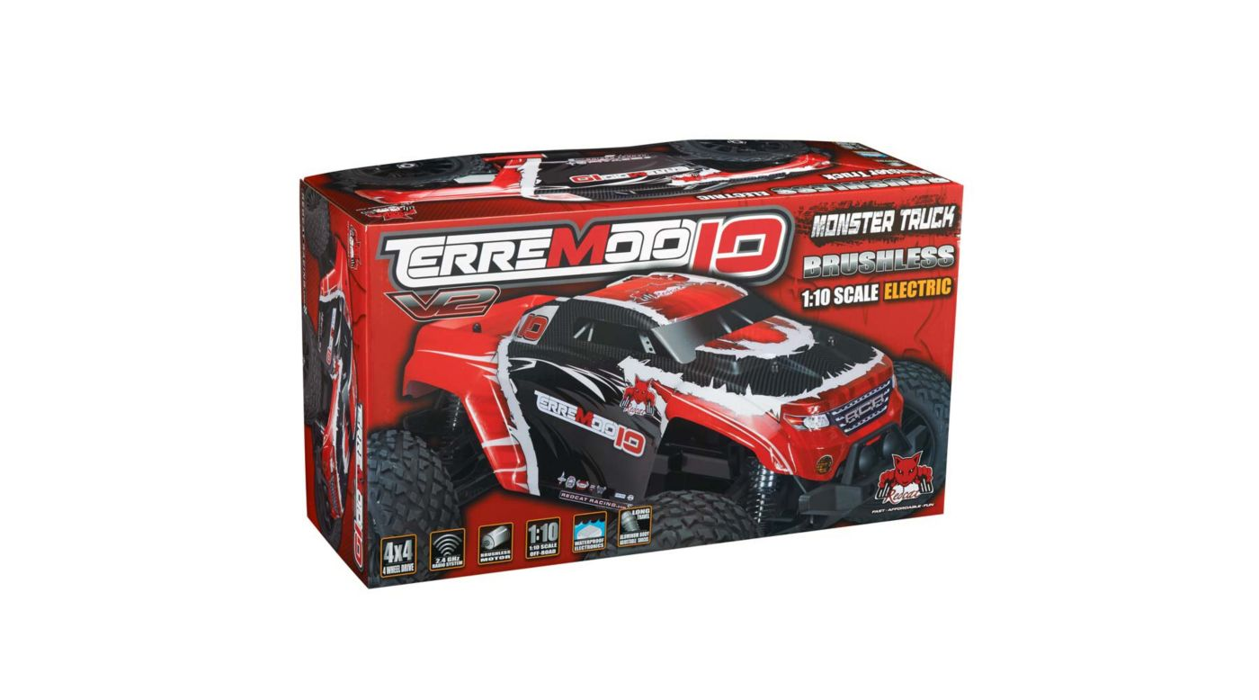 Image for 1/10 Terremoto-10 V2 Truck BL 4WD RTR, Red from HorizonHobby