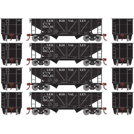 Athearn 70923 HO 34' 2-Bay Hopper w/Coal Load, LV #2 (4) RND70923