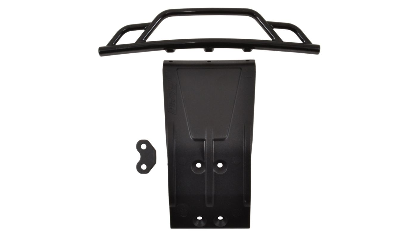 Image for Front Bumper and Skid Plate, Black: Losi SCTE from HorizonHobby