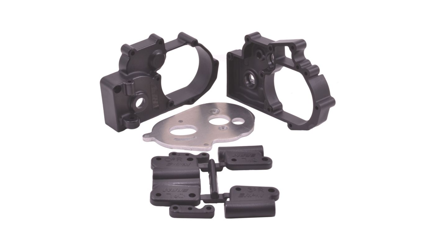 Gearbox Housing and Rear Mounts, Black: TRA 2WD Vehicles (RPM73612)