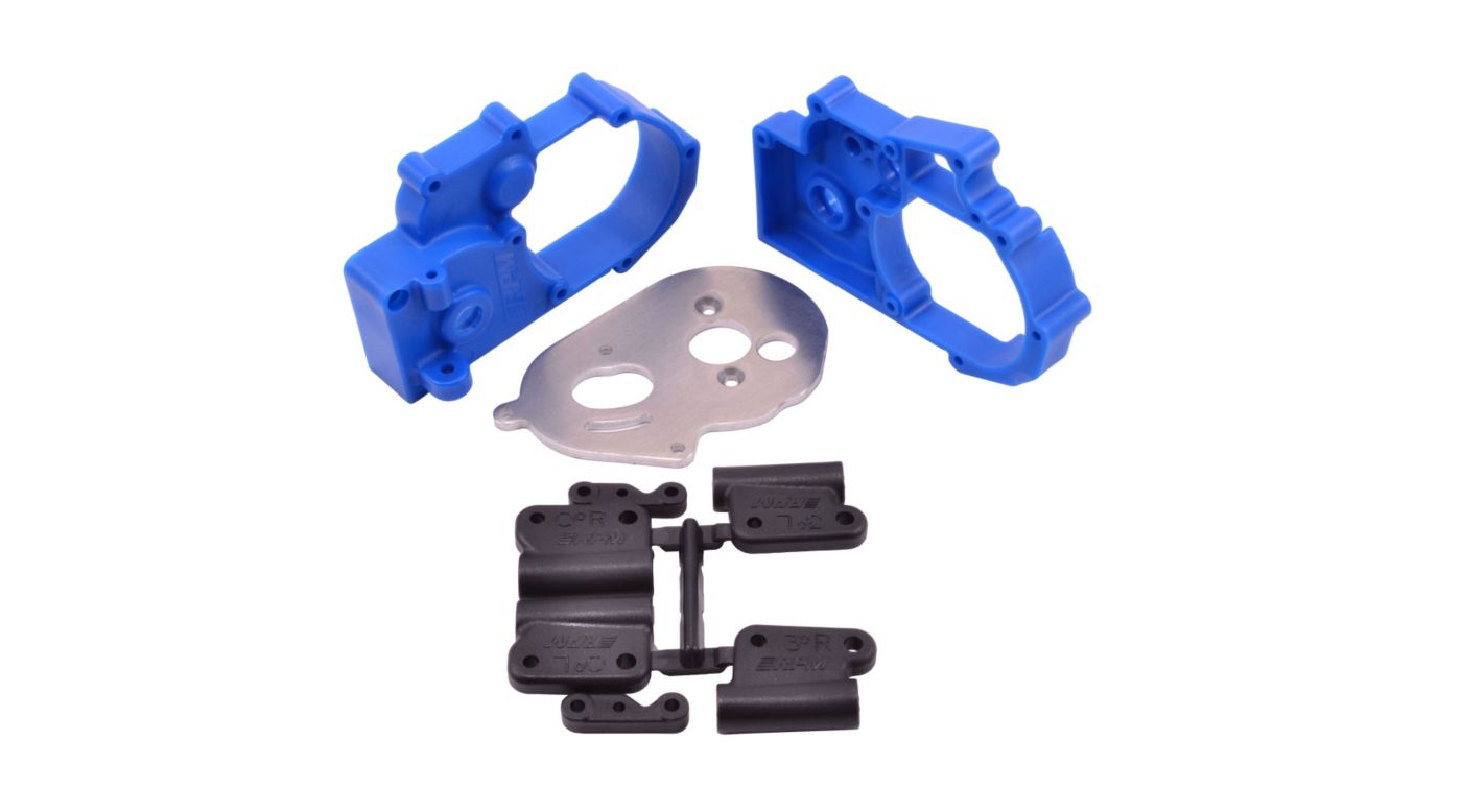 Gearbox Housing and Rear Mounts, Blue: TRA 2WD Vehicles