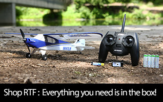 Ready-to-Fly (RTF) remote control airplanes come with everything necessary for flight right in the box.