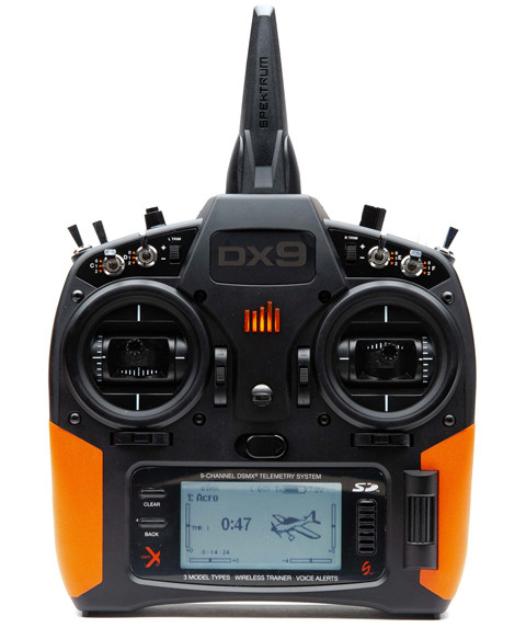Front of DX9 transmitter with orange grips