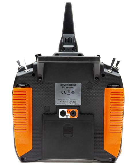 Back of DX9 transmitter with orange grips