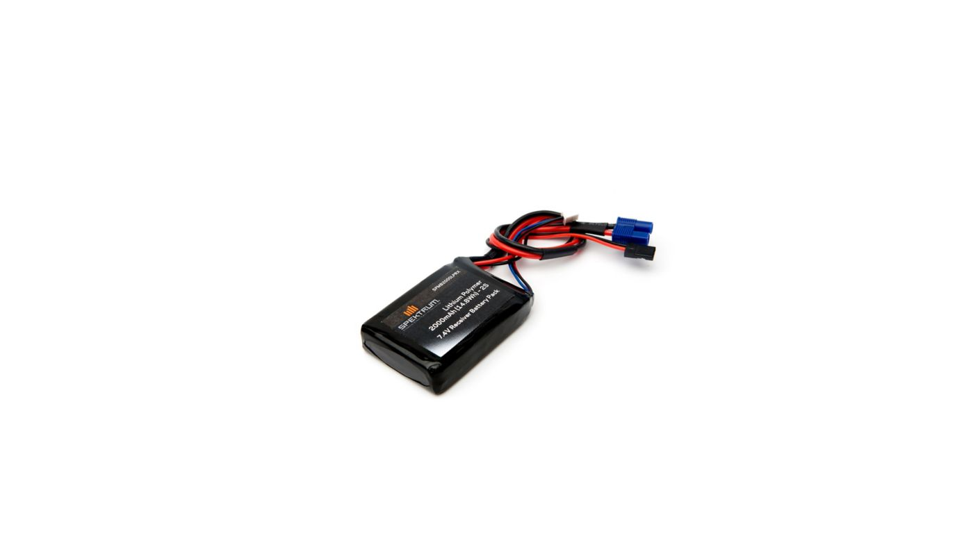 Image for 7.4V 2000mAh 2S LiPo Receiver Battery: Universal Receiver, EC3 from Horizon Hobby