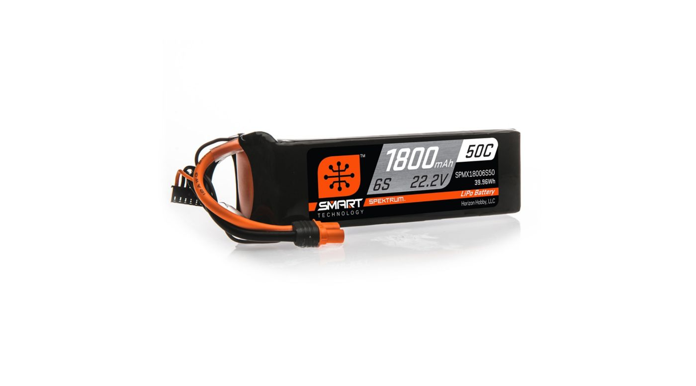 Image for 22.2V 1800mAh 6S 50C Smart LiPo Battery: IC3 from HorizonHobby