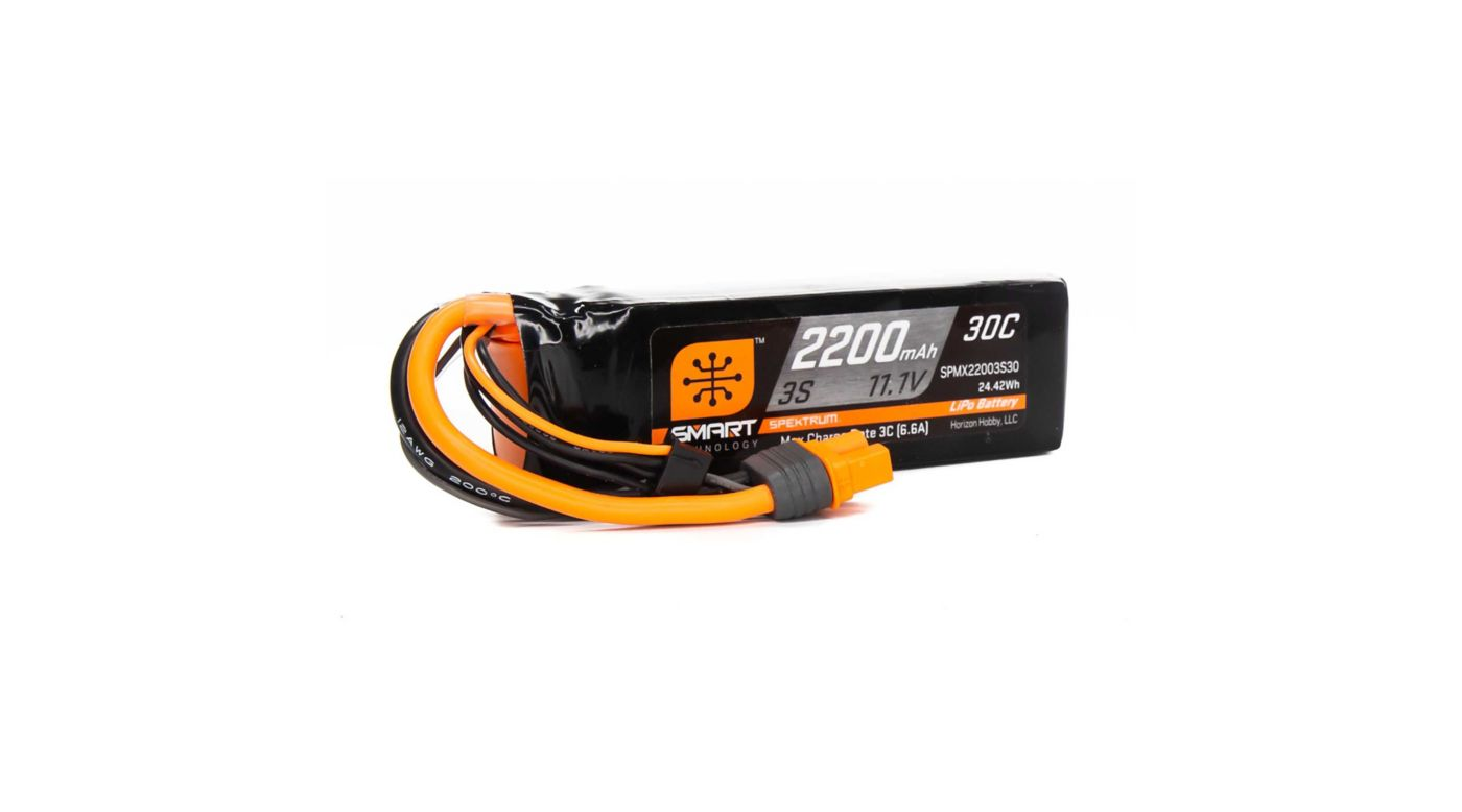 Image for 11.1V 2200mAh 3S 30C Smart LiPo Battery, IC3 from HorizonHobby